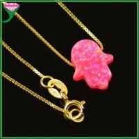Best Fashion 11*13mm OP55 Gold Plating sterling silver pink synthetic opal hamsa halskette wholesale