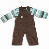 China Children's T-Shirt and Pants, Jersey, Dye Yarn, Made of 100% Cotton on sale