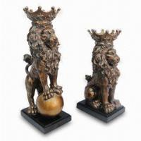 Best Candle Holders, Made of Polystone, Playing lion, Polished Gold Finish, Unique Design wholesale