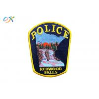 China Twill Background Embroidered Fabric Patches , Custom Police Badge Patch on sale