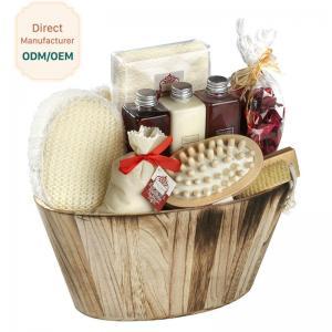 Best Portable Body Care Bath Gift Set Bamboo Wooden Basket Engraved Logo wholesale