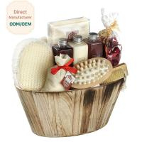 Cheap Portable Body Care Bath Gift Set Bamboo Wooden Basket Engraved Logo for sale