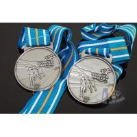 Best Sports Skiing Event 3D Effect Metal Award Medals With Antique Silver Plating Stripe Ribbon wholesale