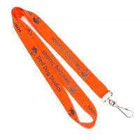 China Dye Sublimation Orange Flat Polyester Lanyard Eco Friendly For Business Conference on sale