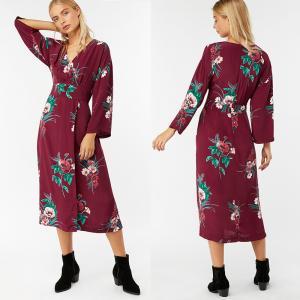 China Summer Women Hot Sale Clothes Long Sleeve Print Wrap Maxi Dress Beach Women on sale