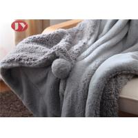 China Grey Plush Throw Blanket Fuzzy Soft faux fur Blanket Microfiber with pompom for Couch Sofa Bed on sale