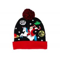 China LED Jacquard Cable Knitted Warm Bobble Hat Soft Women Christmas Beanie With Pompom on sale