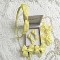 China Yellow Nylon Tape Fabric Hair Clips Ponytail Holder Flower Girl Hair Accessories Clips on sale