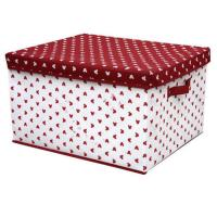 China OEM Durable PP Non Woven Storage Boxes with Cover , White Red Dots Printed on sale