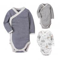 Best Long Sleeve Cotton Baby Clothes Gift Set Stripe Printed With Snap Side Openning wholesale