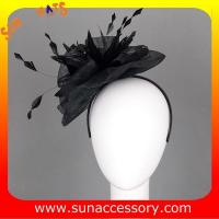Best 0921 hot sale fashion black sinamay fascinators hats and caps with feather,Fancy Sinamay fascinator  from Sun Accessory wholesale