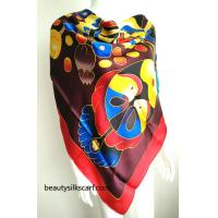 China Chinese culture silk scarves, 100% silk twill scarf from factory direct, by hand drawing on sale