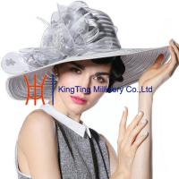 Best Satin Ribbon  Wide Brim Church Ladies Hat  Yellow Fashion For Church wholesale