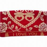 China Yarn-dyed Weaving Jacquard Face Towel, 100% Cotton, 35 x 70cm, 400gsm, Super Water Absorption on sale
