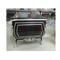 China Western Hotel Nightstand 2 Drawers Carved Sliver Edge Simple Design on sale