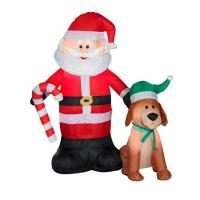 Best Factory Customized Shop or Family Christmas Roof Decoration Inflatable Santa Claus on Fire wholesale