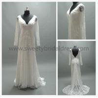 Best Mermaid & Trumpet V-Neck Long Sleeves Low Back Lace Wedding Dress #AS7112a wholesale