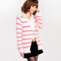 China Women's Striped Cardigan/Sweater, Comes in Various Colors, Made of 65% Polyacrylonitrile, 35% Wool on sale