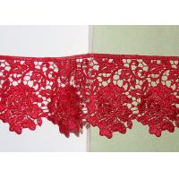 Buy cheap Red Flower Embroidered Lace Trim Chemical Poly Milk Guipure Ribbon Custom Sample from wholesalers
