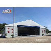 Best Waterproof And Flame Retardant Cover Aircraft Hangar Tent With Auto Roll Up Door / 25m Width Aluminum Frame wholesale