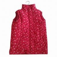 China Children's Padded Vest with Plastic Zipper and 4 Press Button on sale