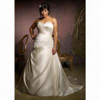 Best Sweetheart Satin Plus Size Wedding Dress, New Arrival, with Sweep Train wholesale