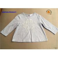 China 32 S/1 100% Cotton Children T Shirt Long Sleeve Heather Gray For Baby Girl on sale