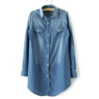 China Denim Long Button Down Womens Shirts Blouses OEM For Office on sale