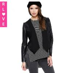 Best new spring models laser hollow mesh stitching PU leather jacket female motorcycle clothing wholesale