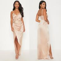 Best 2019 New Arrivals Women Casual Petite Champagne Satin Maxi Dress And Sexy wholesale