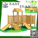 Best Indoor Wooden Playground Equipment , Childrens Wooden Playhouse With Slide wholesale