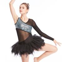 Buy cheap Ballet Dance Competition Costumes V Neckline Glitter Bodice Black Single Sleeve from wholesalers