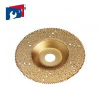 China Gold Color Flat Vacuum Brazed Diamond Cup Wheel 22.23 Mm Hole For Marble Slab on sale