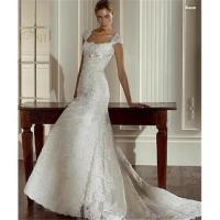 Custom-made off-shoulder embroidered train lace wedding dresses bridal gown W2073