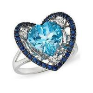China Diamond & swiss blue topaz & sapphire gem ring on sale