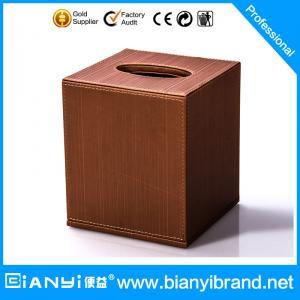 Best Logo customized middle sized hotel leather products pu leather tissue box wholesale