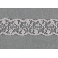 White Floral Embroidered Lace Trim , Cotton Nylon Wave Edging Lace Design Trims