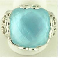 Best stainless steel casting ring with aquamarine gem LRX22 wholesale