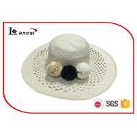 Best Double layer wide brimmed straw sun hat with flower decoration for female wholesale