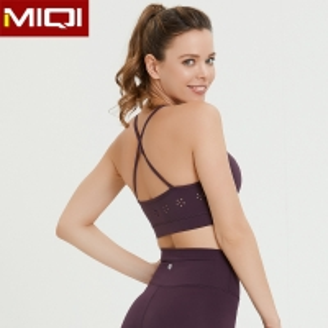 China Manufacturing Customize Label Women Workout Yoga Wear Fashion Lacer Cut Sports Bra on sale
