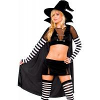 Black Widow Witch Womens Sexy Costumes  Princess Peach Tight Leather Catsuit