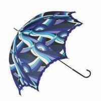 Best Ruffle Dome Shaped Umbrella with Black PU Handle and Metal Tips wholesale