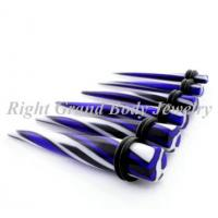 Best Color Printed Stripe Ear Stretchers Tapers UV Acrylic For Engagement wholesale