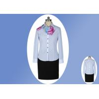 Best Modern Office Slim Long Sleeve Work Uniform Lady Blue White Striped Shirt wholesale