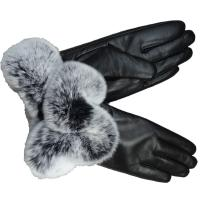 China New Collection Fashion Genuine leather Rex Rabbit Fur Cuff Wool Lined Sheepskin Ladies Dress Gloves on sale
