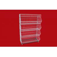 China Collapsible Metal Wire Storage Baskets , Mobile Tiered Wire Basket Display Shelf on sale