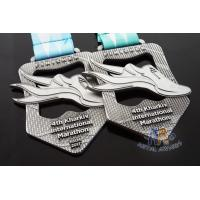 Best Maration Cut Out Design Antique Silver Custom Sports Medals 10K And 5K Bespoke Medallions Full Color Ribbon wholesale
