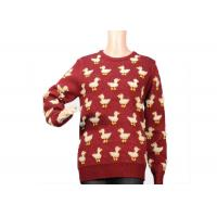 Best Ladies Crew Neck Red Mohair Sweater Jacquard 9 Gauge Cute Duck Knitted Pattern wholesale