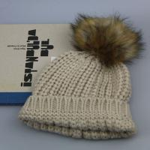 Best Custom Milk White Soft Boys Knitting Hat  winter knit hat with large raccoon fur ball pom poms wholesale