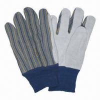 Best Leather Gloves with Cotton Back/Clute Split Leather/Palm Knit/Wrist Palm Lined/Striped Fabric Back wholesale